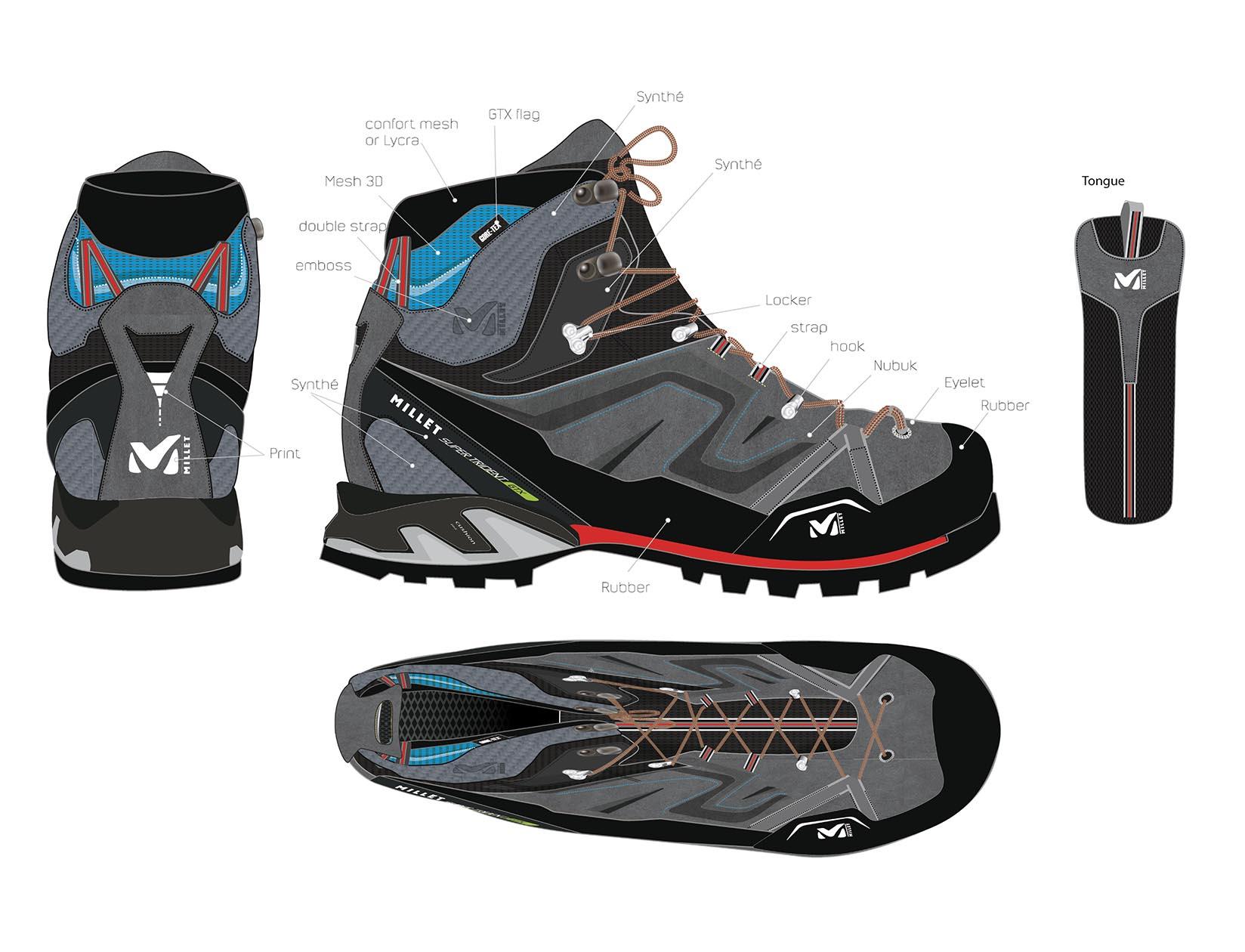 Conception du design produit de sport - Chaussures Millet
